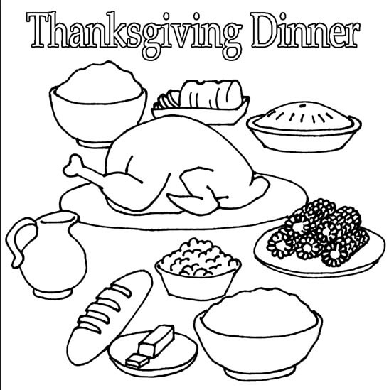 Coloring Pages Of Thanksgiving Food