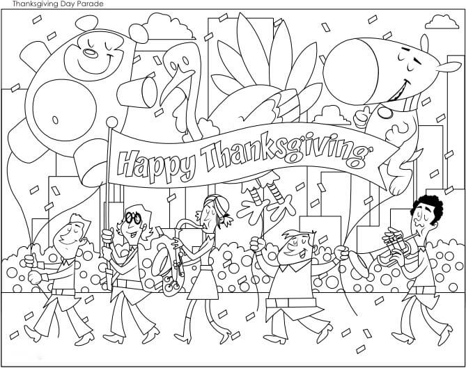 Thanksgiving Parade Coloring Pages