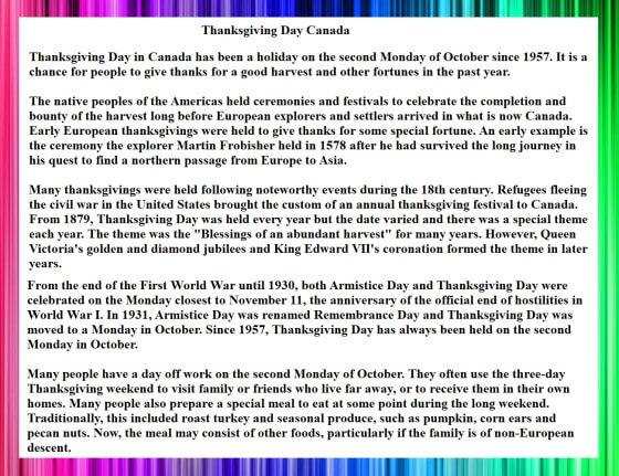 Thanksgiving Day Cananda Speech