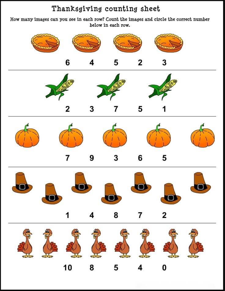 Thanksgiving Math Worksheets For Kids