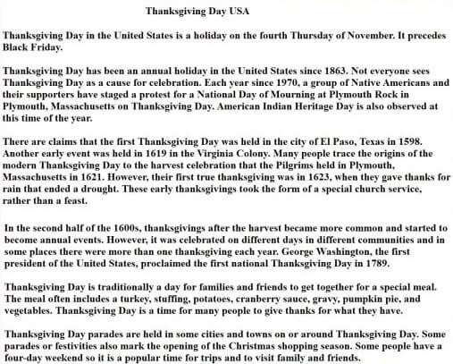 Thanksgiving Speech